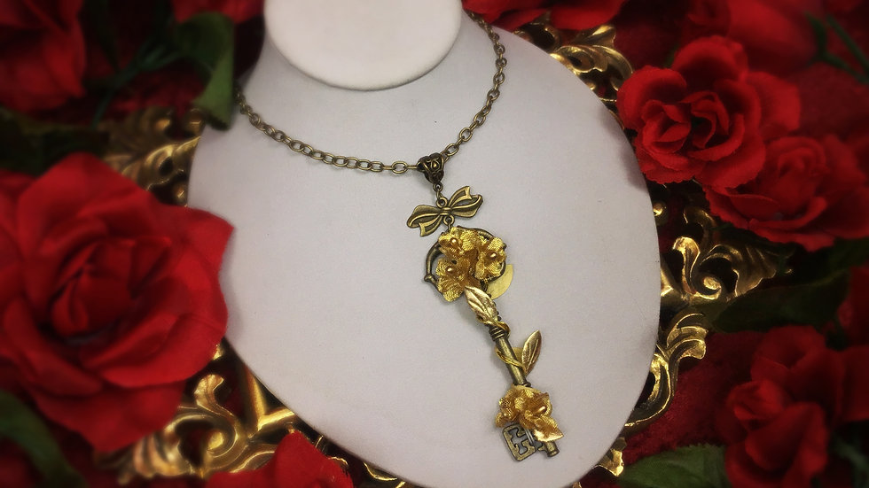 Golden Gardens Key Necklace