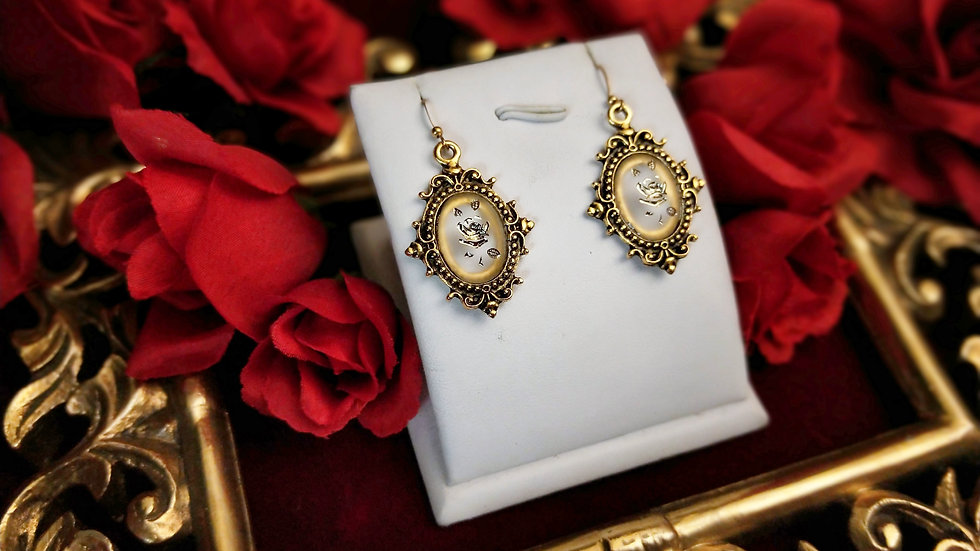 Frosted Glass Rose Earrings - Gold