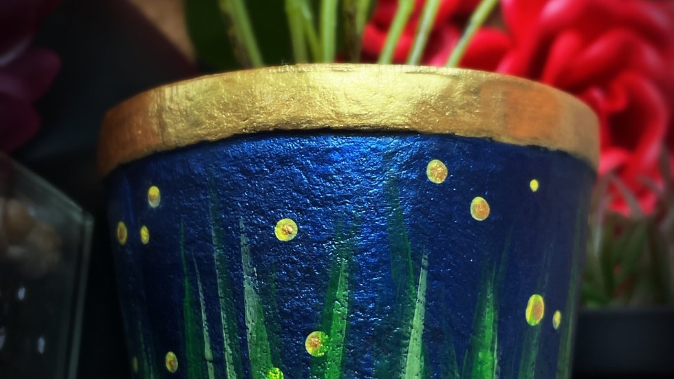 Fireflies Faux Potted Plant