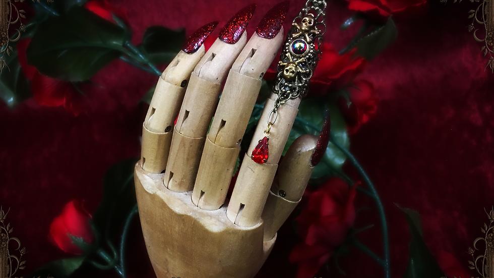 Ruby Blood & Skulls Single Claw Ring