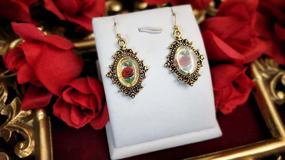 Clear Glass Rose Earrings - Gold