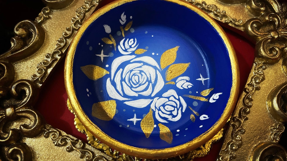 Gold & Blue Rose Dish