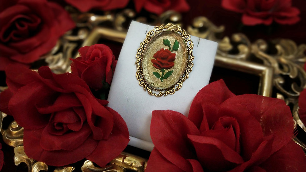 Clear Glass Rose Brooch - Gold