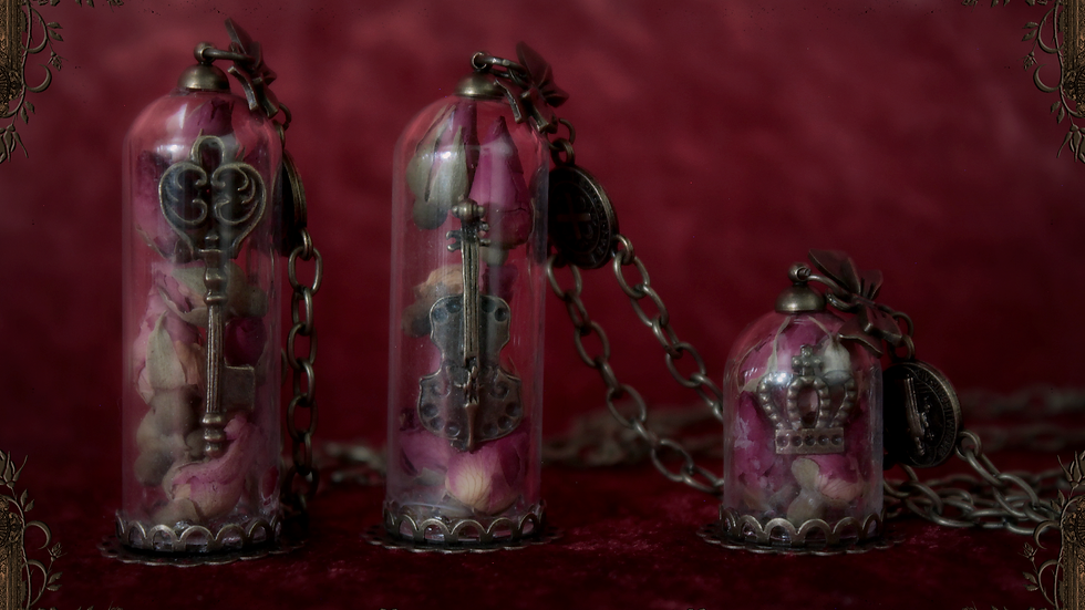 Rose Vial Necklace [Small Crown Version]