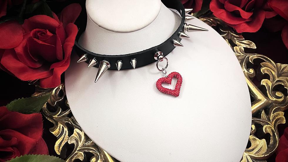 Spiked Heart Collar