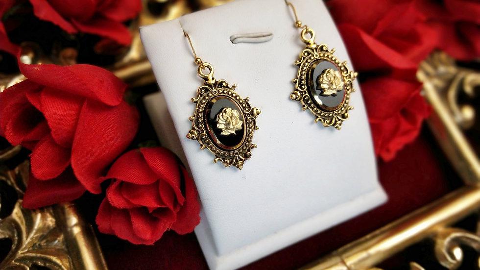 Black Glass Rose Earrings - Gold