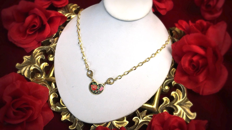 Cloisonne Rose Necklace - Round Heart