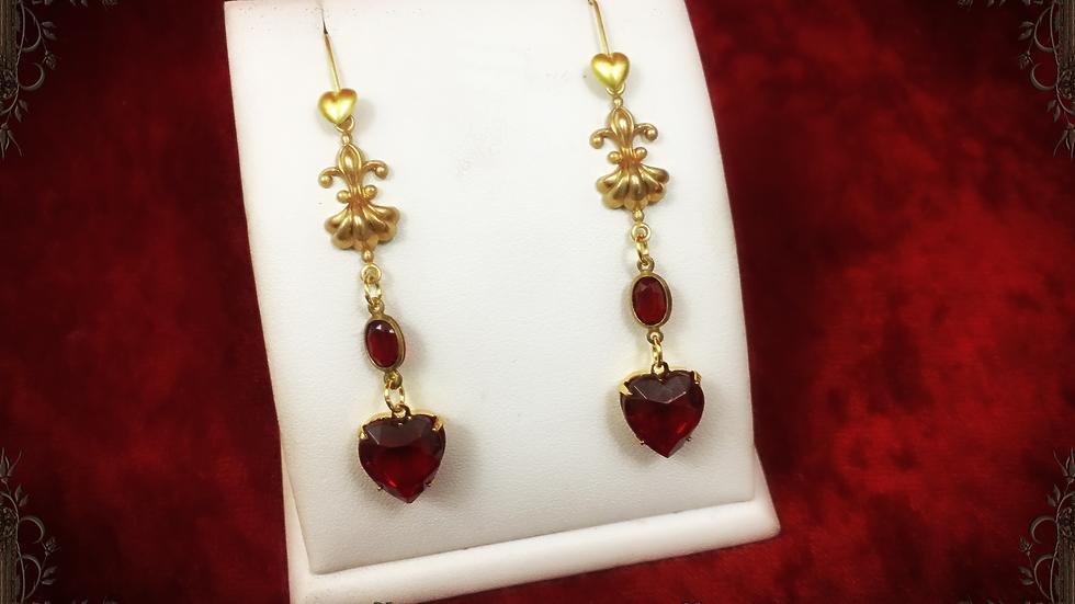 Ruby Heart & Center Earrings II