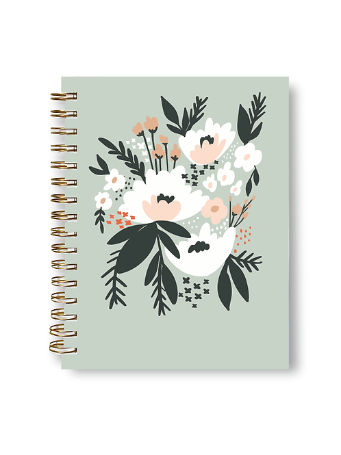 Wholesale Mint Floral Notebook