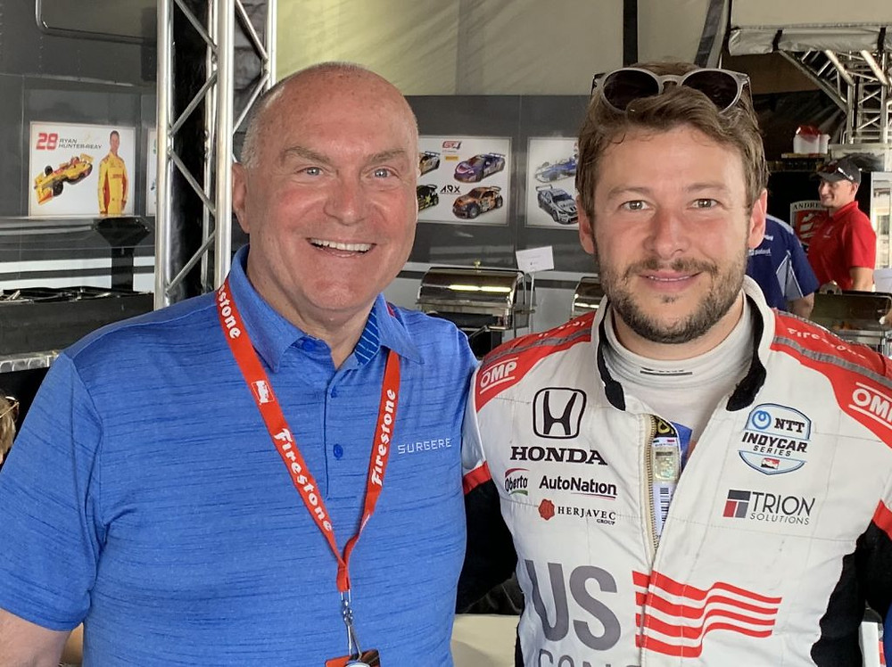 William Wappler, CEO, Surgere with Marco Andretti IndyCar driver for Andretti Autosport