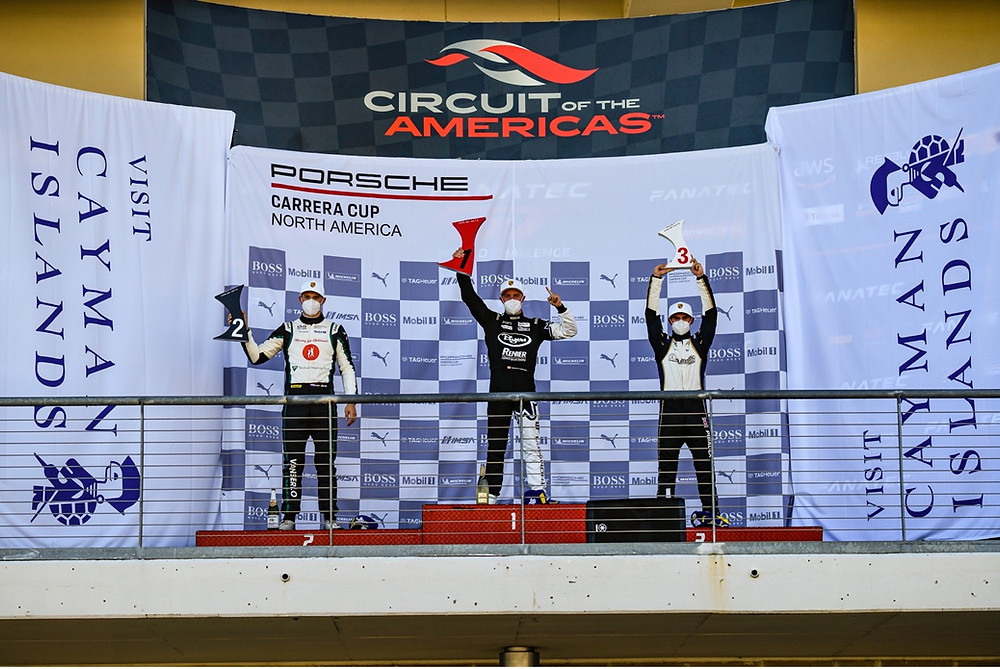 Parker Thompson, sponsored by Surgere, takes first place on the podium at Circuit of the Americas in Austin, Texas.
