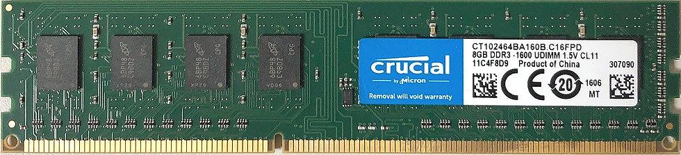 Micron Crucial 8GB DDR3 - 1600 UDIMM 1.5V CL11