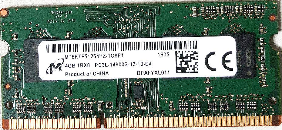 Micron 4GB DDR3 SoDimm  MT8KTF51264HZ-1G9P1 PC3-14900 1866Mhz 1Rx8 Memory RAM
