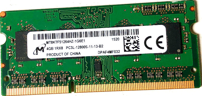 Micron 4GB DDR3 MT8KTF51264HZ-1G6E1  SoDimm PC3-12800 1600Mhz 1Rx8 RAM
