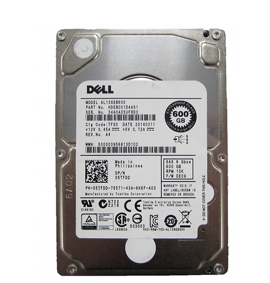 "DELL 5TFD0 AL13SEB600 600GB 10K SAS 2.5"" Server Hard Drive HDD"
