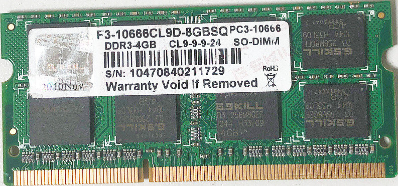 G. SKILL F3-10666CL9D-8GBSQ PC3-10666 DDR3-4GB