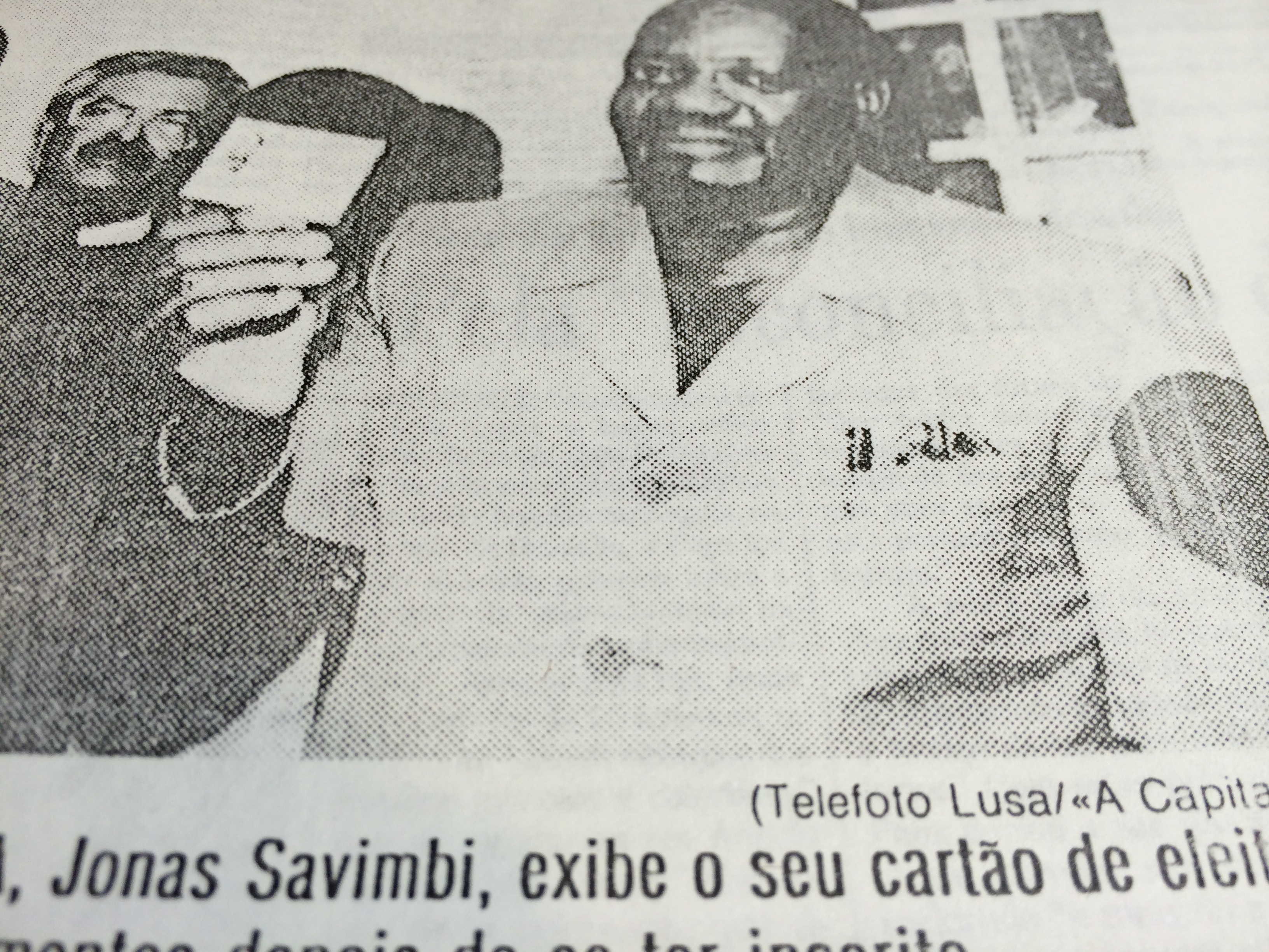 Registo eleitoral Savimbi