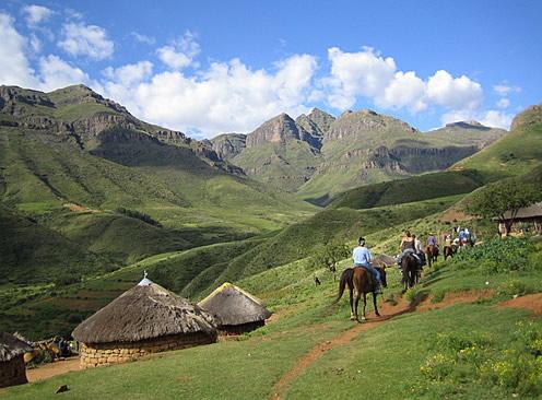 Cavalgada no Lesotho