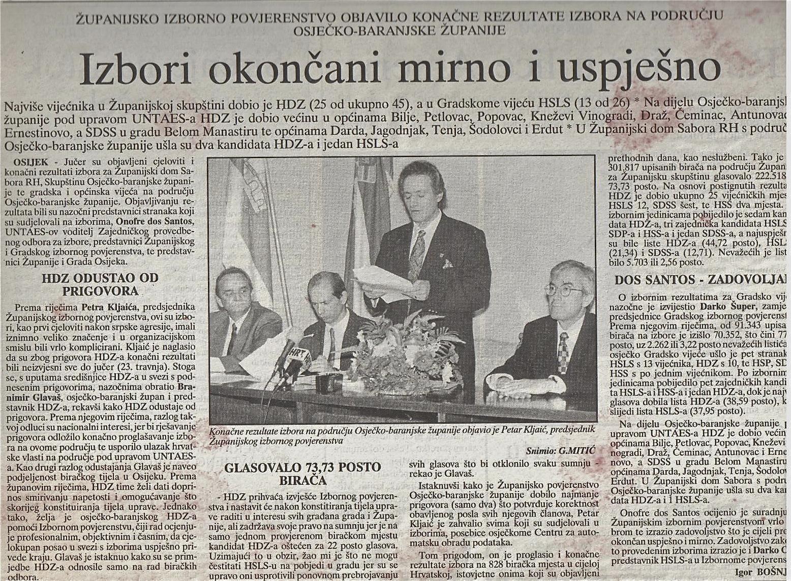 Anúncio de resultados na Croácia