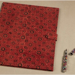 Hand printed fabric file folder