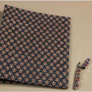 Hand printed fabric file folder