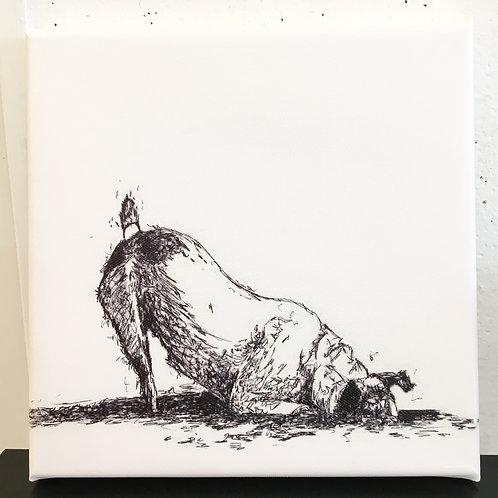 Dog Digging mini canvas
