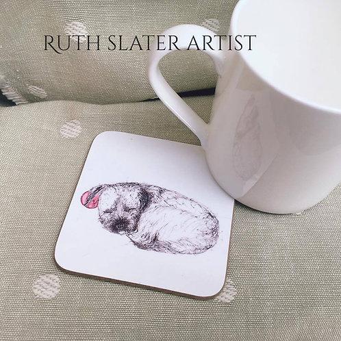 Sleeping Border Terrier Coaster