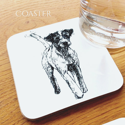 Terrier with wagging tail coaster