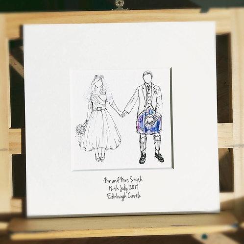 Tartan Wedding Couple Print