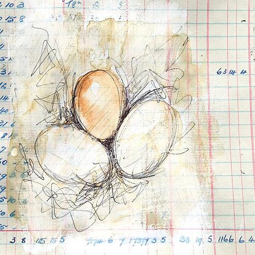 Mini Original of eggs on vintage ledger paper