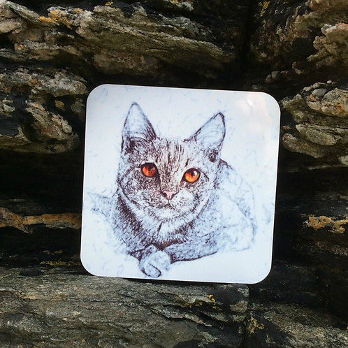 Solo Wire Work Amber Eyed Cat Coaster