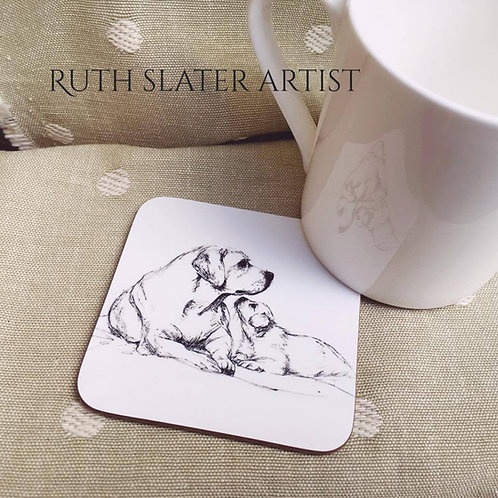 Labrador Mother and Pup Coaster