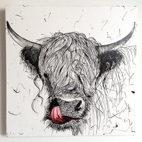 Highland Cow Box canvas Pen and Ink