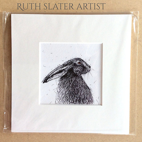 Hare in profile mounted print
