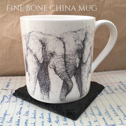 Elephants Entwined Mug