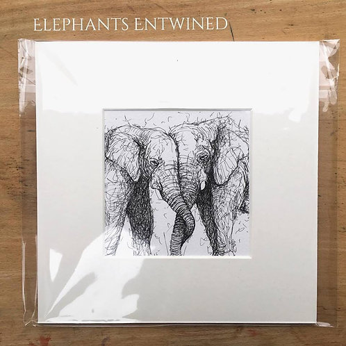 Elephants Entwined Print
