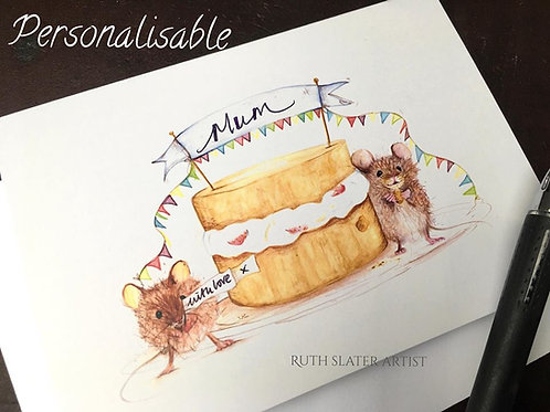 Mouse Birthday Card (Personalisable)