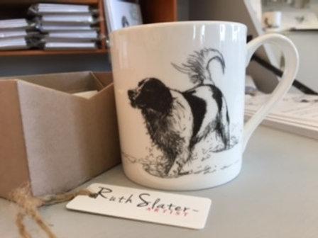 Spaniel in the water mug