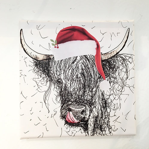 Mini Christmas Cheeky Cow Canvas