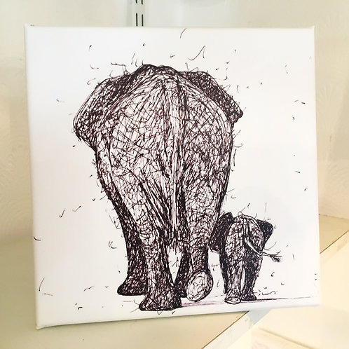 Elephant and Calf (Med Canvas)