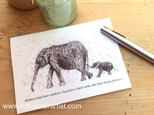 Elephant and Calf with quote
