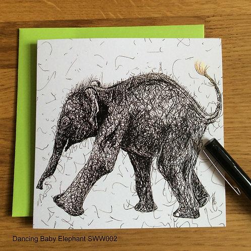 Dancing Baby Elephant card - Solo Range