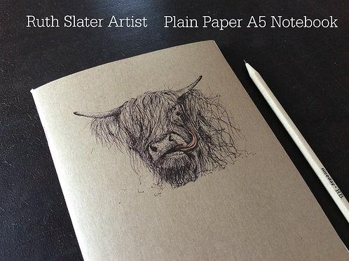 A5 Kraft Cheeky Cow Notebook (Plain)