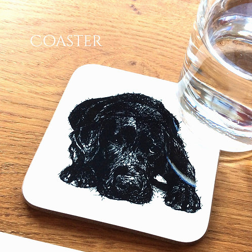 Black Lab waiting coaster