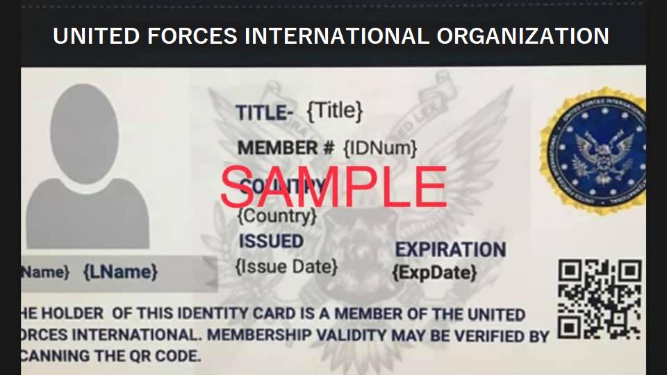 "For "" VETERAN or RETIRED "" MEMBER:  UFIO Official Membership's ID Card"