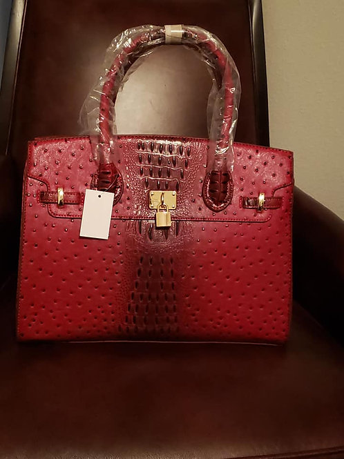 Ostrich Crocodile Padlock 2-in-1 Satchel - Red