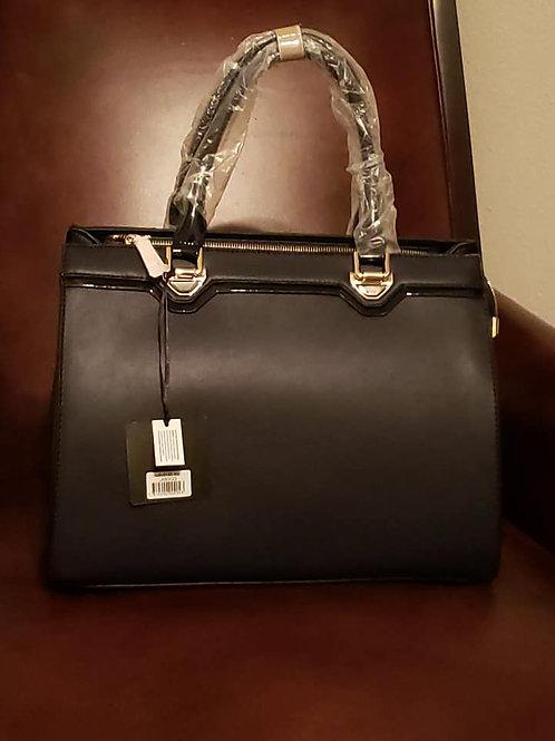 Fashion Faux Satchel Handbag - Navy