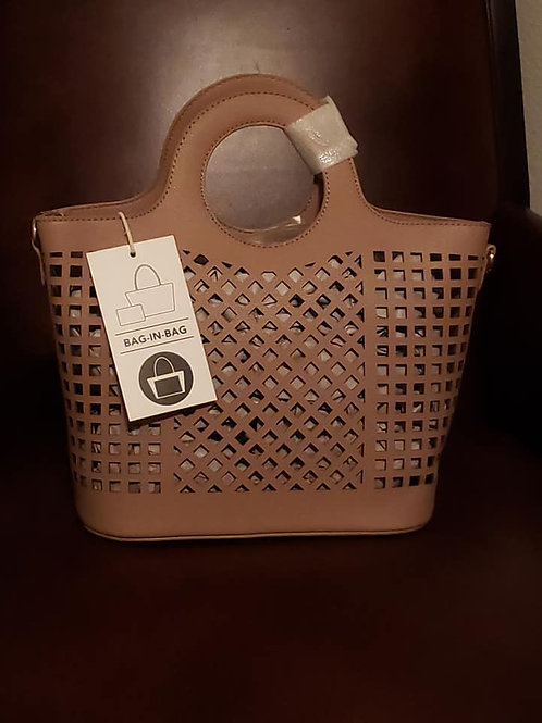 Fashion Laser Cut Tote - Taupe