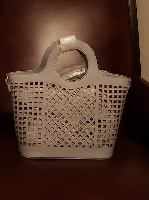 Fashion Laser Cut Tote Bag- Blue