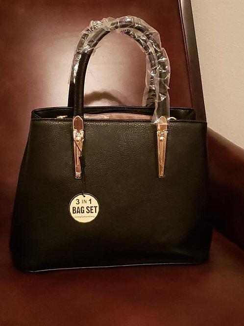 3-in-1 Top Handle Handbag Set - Black